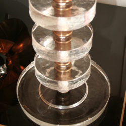 The image for Valerie Wade Lt551 Pair Italian Clear Glass Disc Lamps 03
