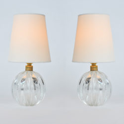 The image for Valerie Wade Lt648 Pair 1950S Clear Murano Ball Lamps 01