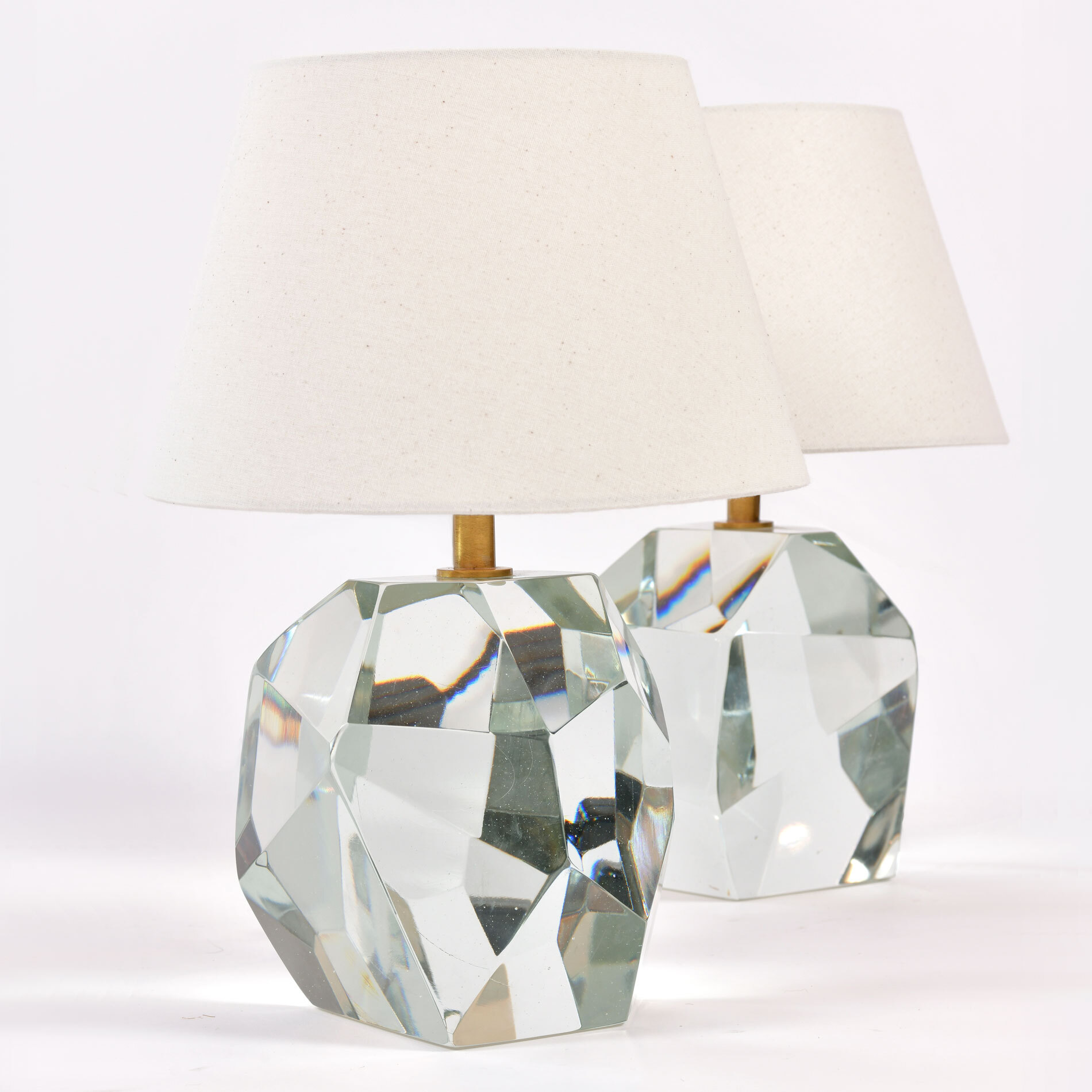 Pair Clear Rock Lamps 01