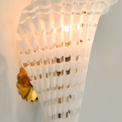 The image for Pair Murano Fluted Wall Lights 02