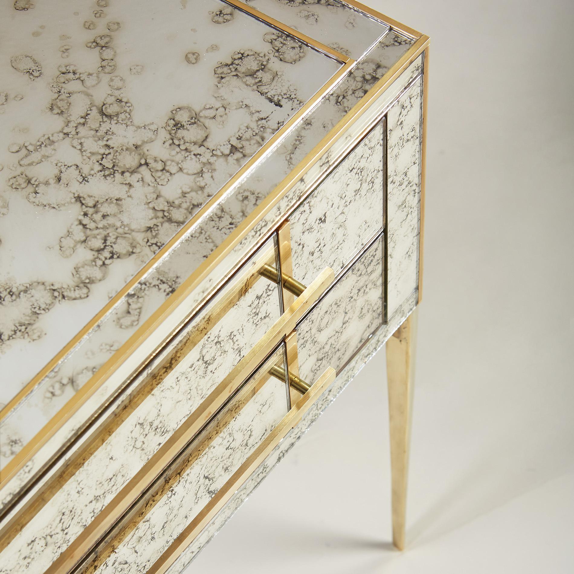 Italian Antiqued Mirror Bedsides 062 V1
