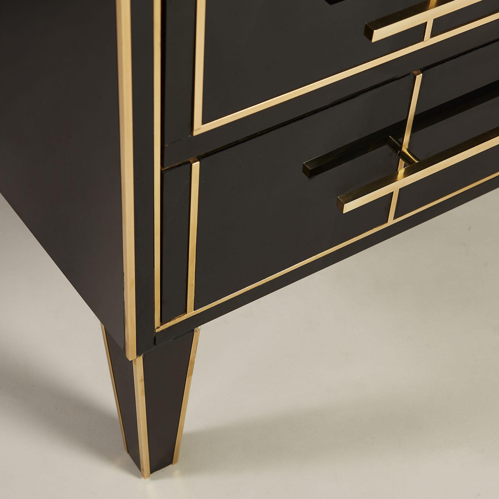 Italian Black Glass Bedsides 0166