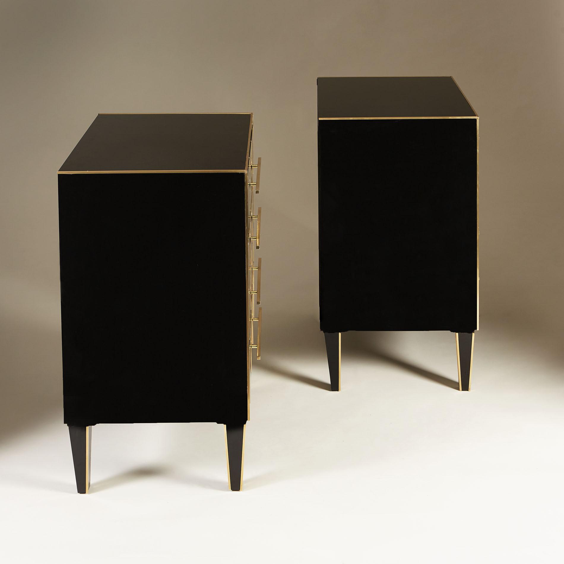 Italian Black Glass Bedsides 0170