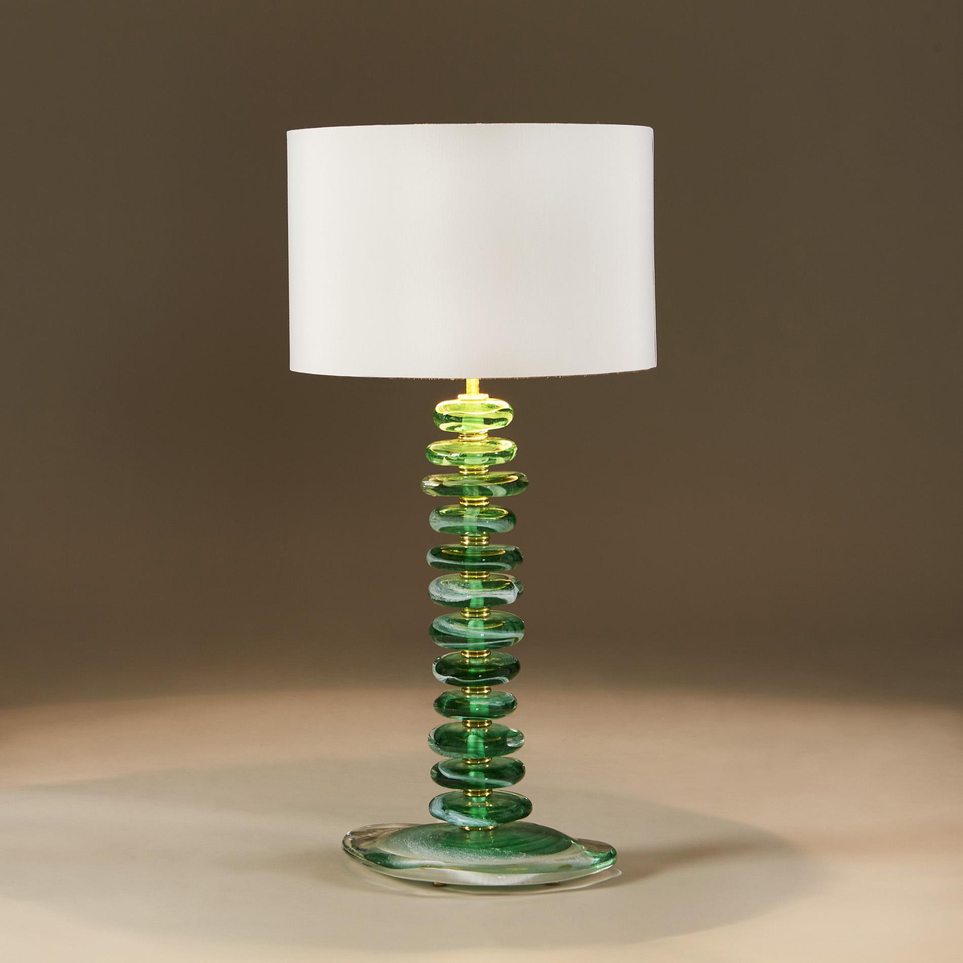 Green Glass Pebble Lamp 0023 V1