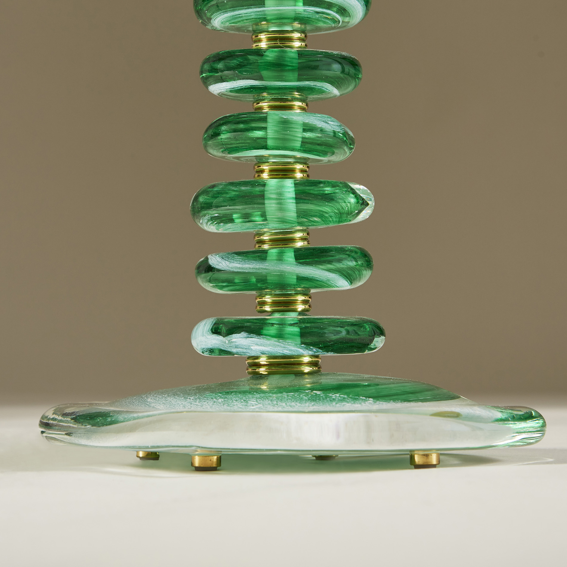 Green Glass Pebble Lamp 0035 V1