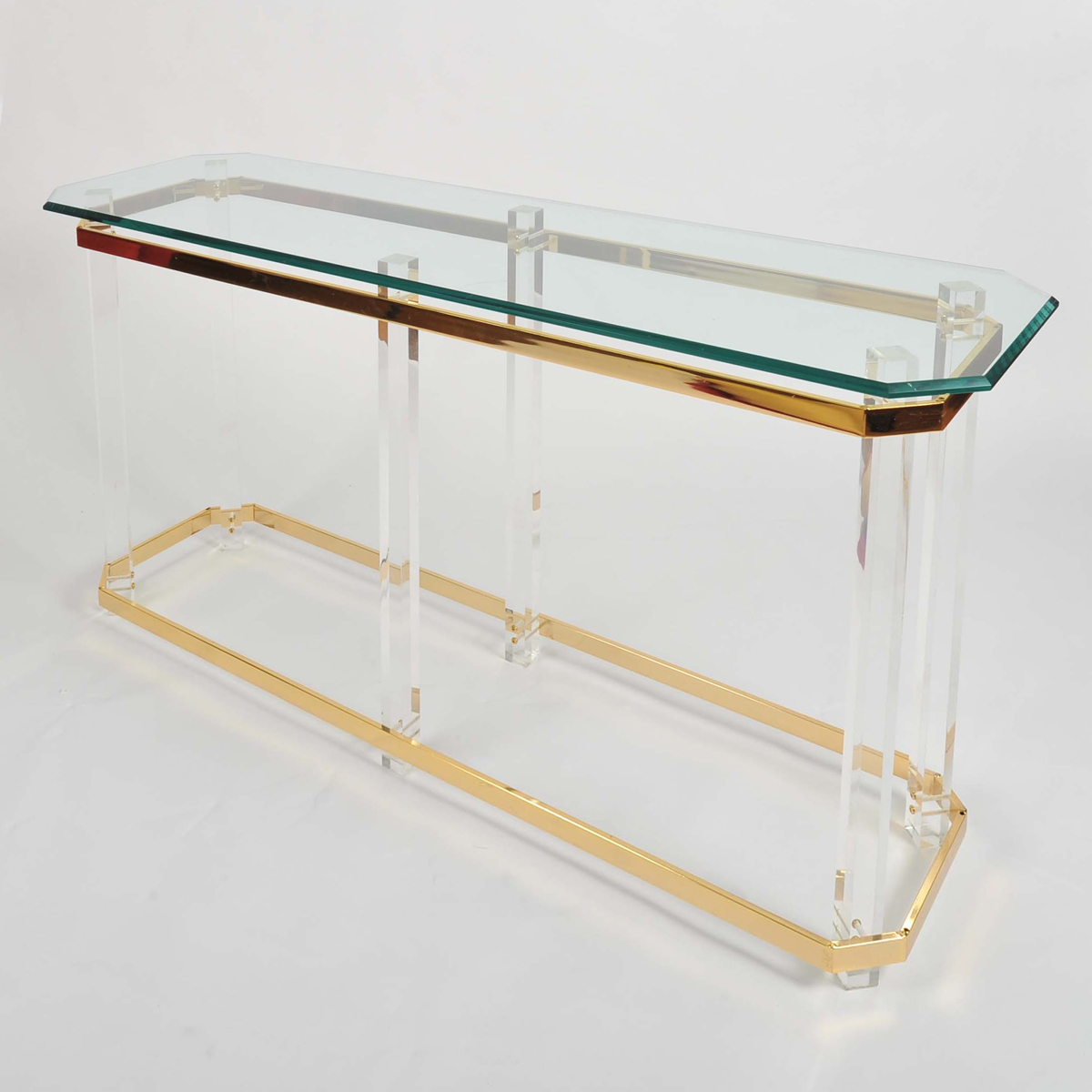 The image for Valerie Wade Ft586 1970S Us Lucite Brass Console Table 02
