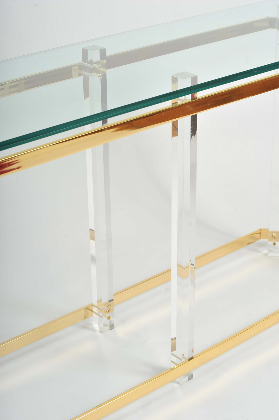 The image for Valerie Wade Ft586 1970S Us Lucite Brass Console Table 06