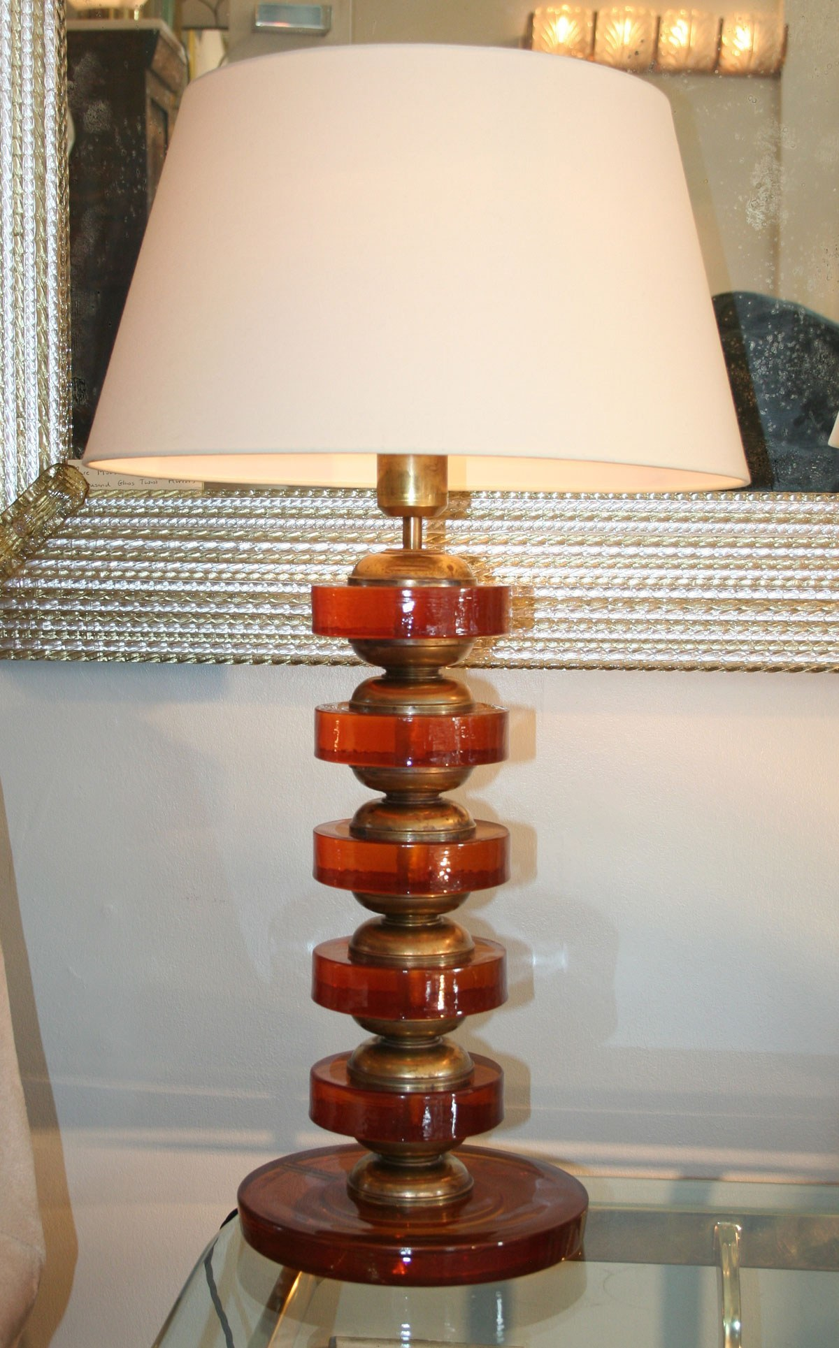 The image for Valerie Wade Lt499 Pair Italian Amber Disc Lamps 04