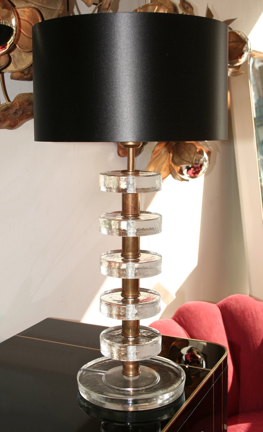 Valerie Wade Lt551 Pair Italian Clear Glass Disc Lamps 02