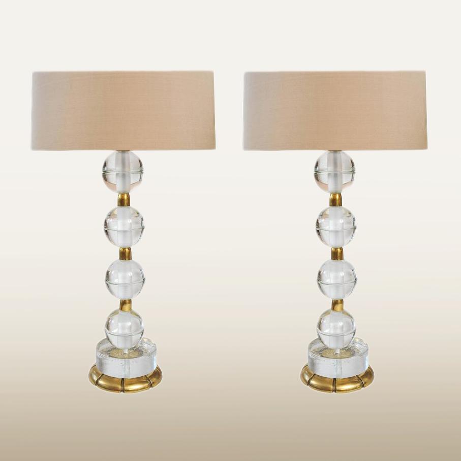 Valerie Wade Lt628 Pair Murano Glass Ball Lamps 01