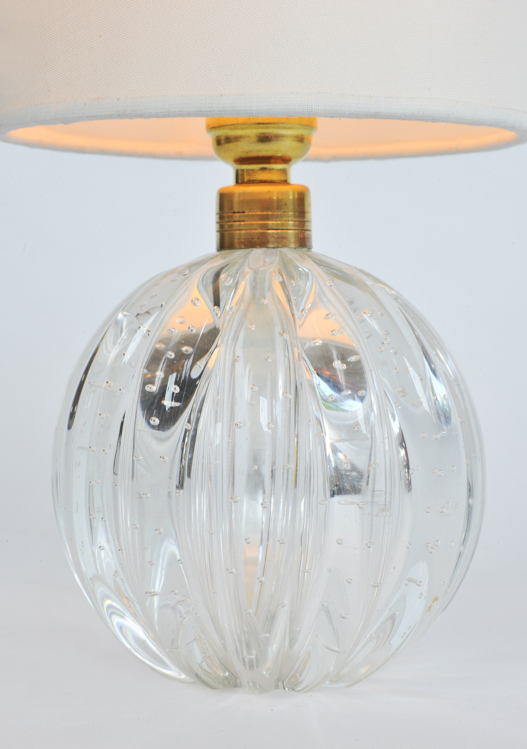 Valerie Wade Lt648 Pair 1950S Clear Murano Ball Lamps 02